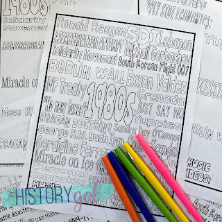 Image of Vocabulary Page with colored pens