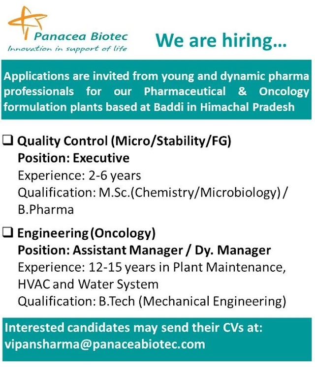 Panacea Biotec | Hiring for QC and Engineering at Baddi | Send CV