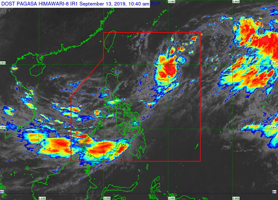 Satellite image of Tropical Depression 'Marilyn' as of 10:40 am on Friday, September 13