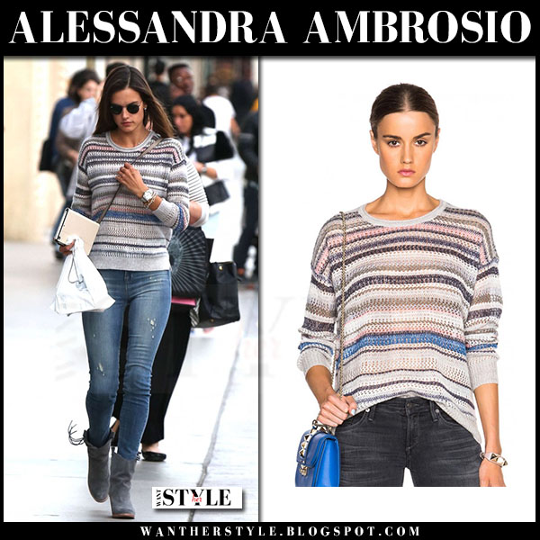 Alessandra Ambrosio in striped knit Inhabit sweater what she wore model style