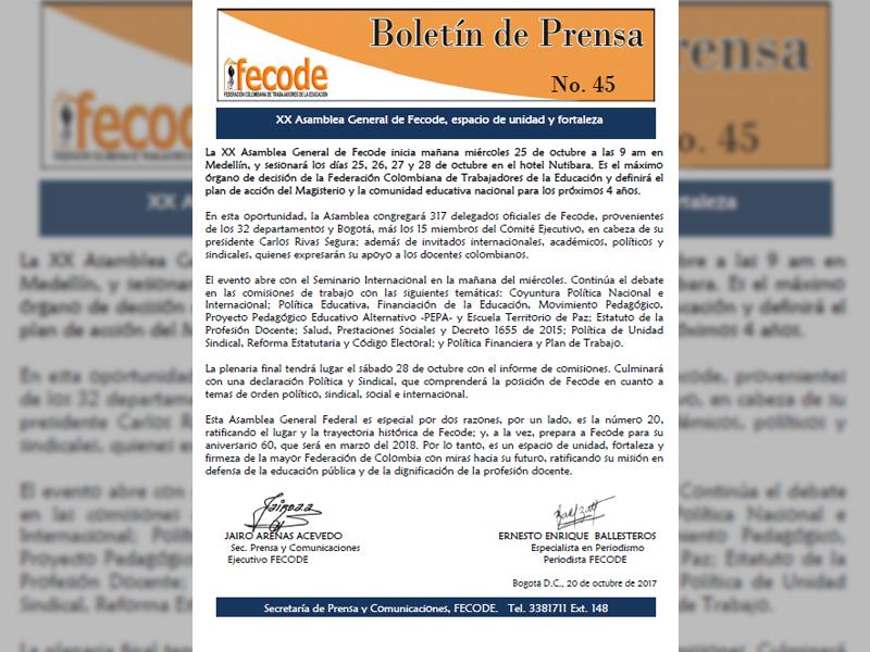 XX Asamblea General de Fecode, espacio de unidad y fortaleza