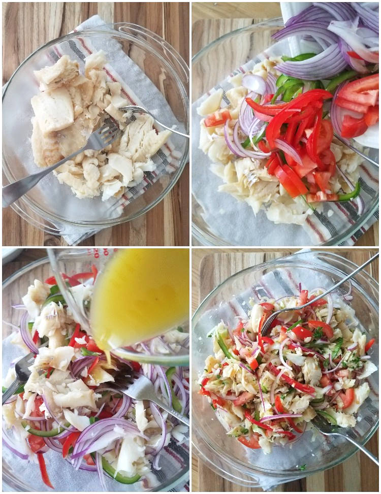 Preparación de la vinagreta y ensalada de bacalao