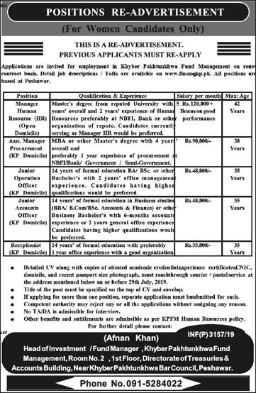 Finance Department Govt Of Khyber Pakhtunkhwa Jobs July 2019