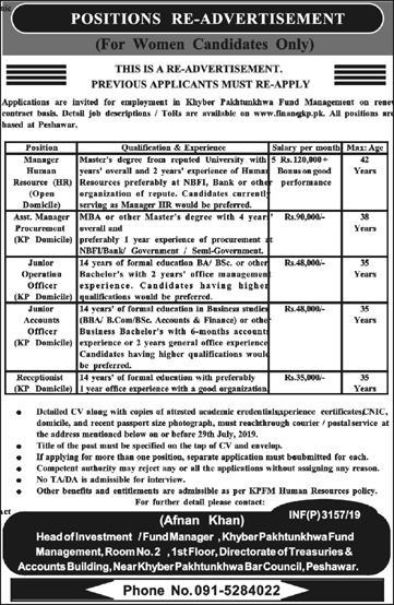 Finance Department Govt Of Khyber Pakhtunkhwa Jobs July 2019