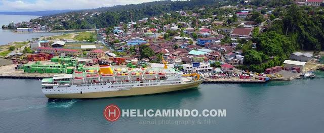 Foto Udara Pelabuhan Kota Fakfak