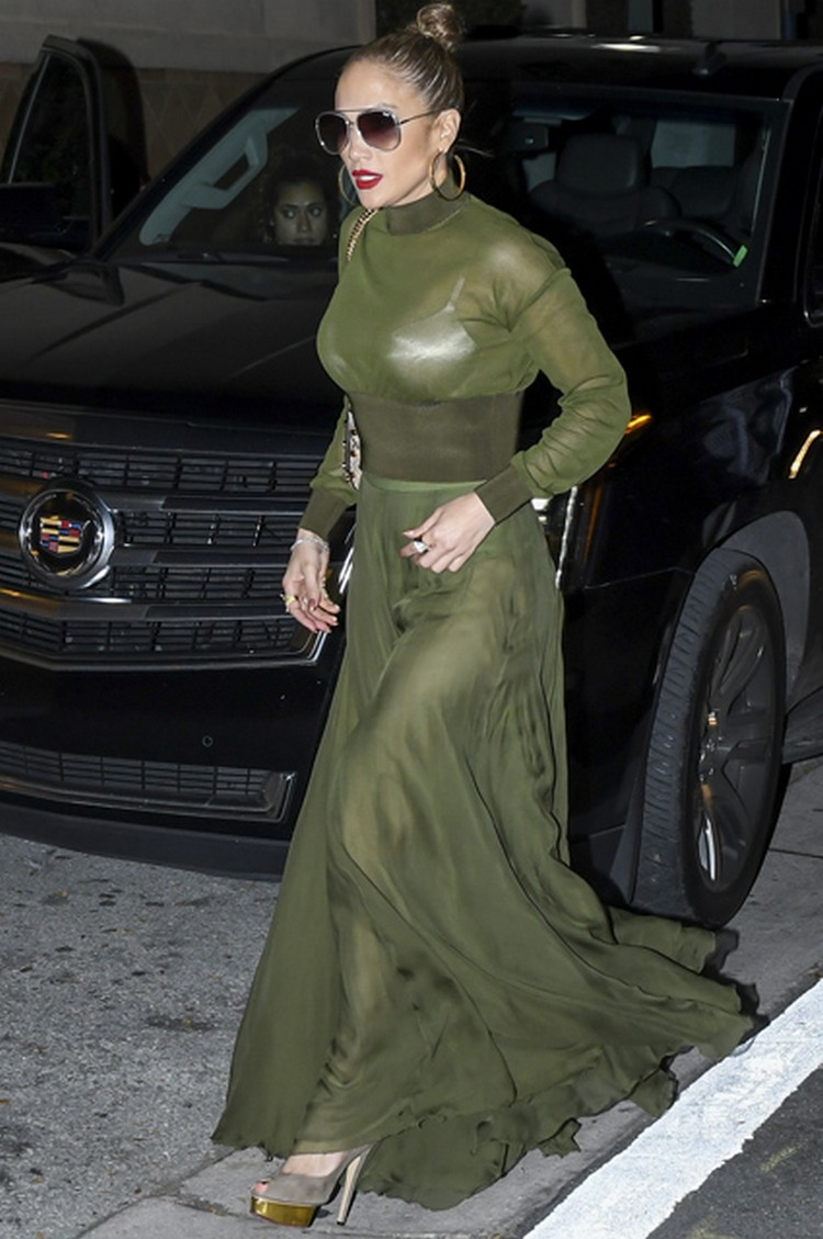 Jennifer Lopez in see-through dress