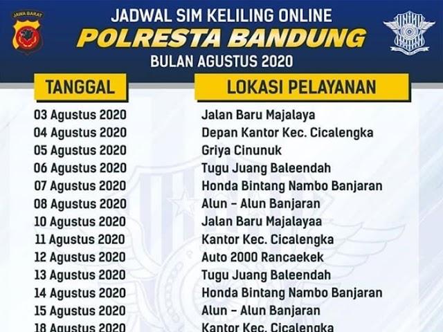 Lengkap, Jadwal Layanan SIM Keliling Polresta Bandung Selama Bulan Agustus 2020