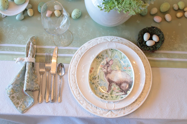 classic easter tablescape pottery barn bunny plates pastels blue green pink