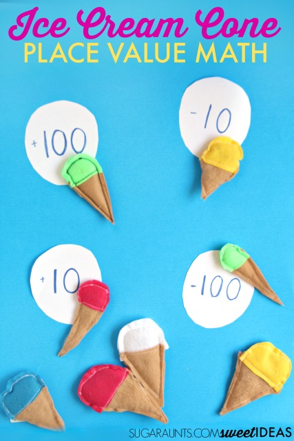 Ice Cream Cone bean bags for working on place value and adding tens and hundreds with mental math, perfect for second grade math skills.