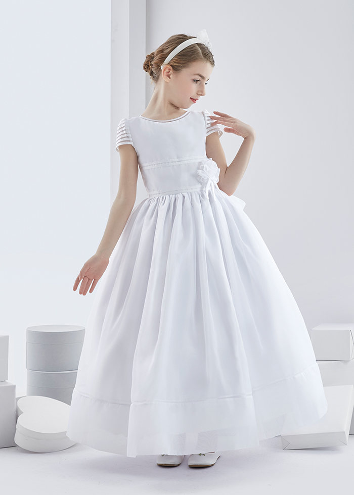 6b97f8c14dd SHORT SLEEVE BALL GOWN ORGANZA FIRST COMMUNION DRESS WITH BIG BOW I found  this dress so cute to wear for first holy communion as it is decorated with  ...