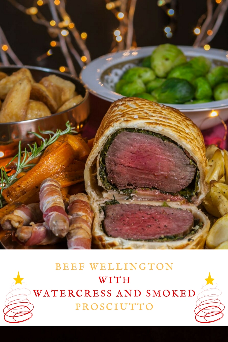 Beef Wellington with Watercress And Smoked Prosciutto