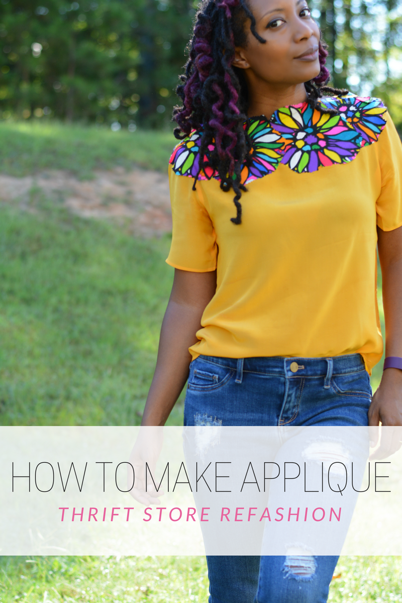 refashion a thrift store top with applique made from old vintage dress