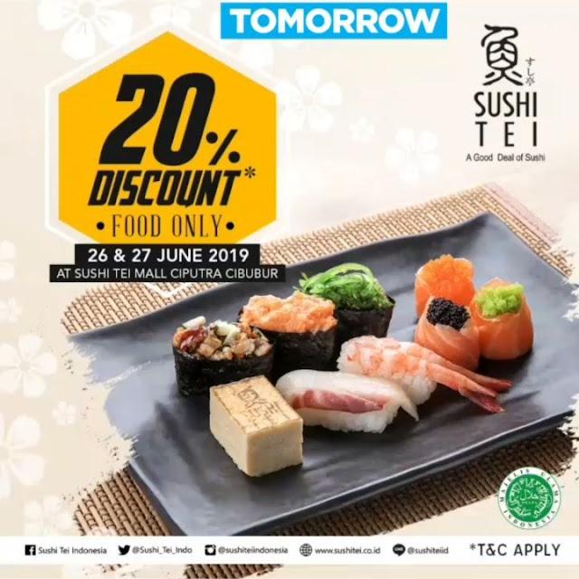 #SushiTei - #Promo Diskon 20% Food Only di Mall Ciputra Cibubur (s.d 27 Juni 2019)