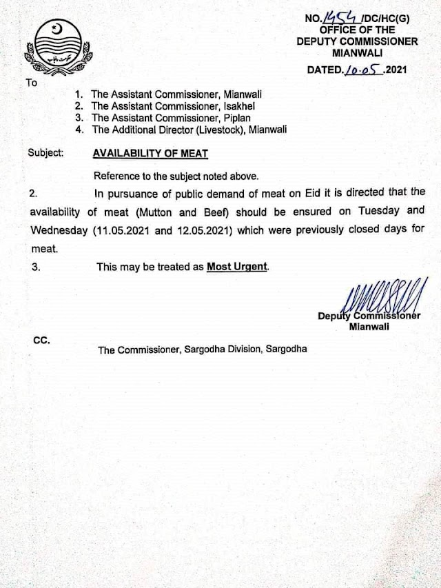 ENSURING OF AVAILABILITY OF MEAT ON TUESDAY AND WEDNESDAY IN MIANWALI