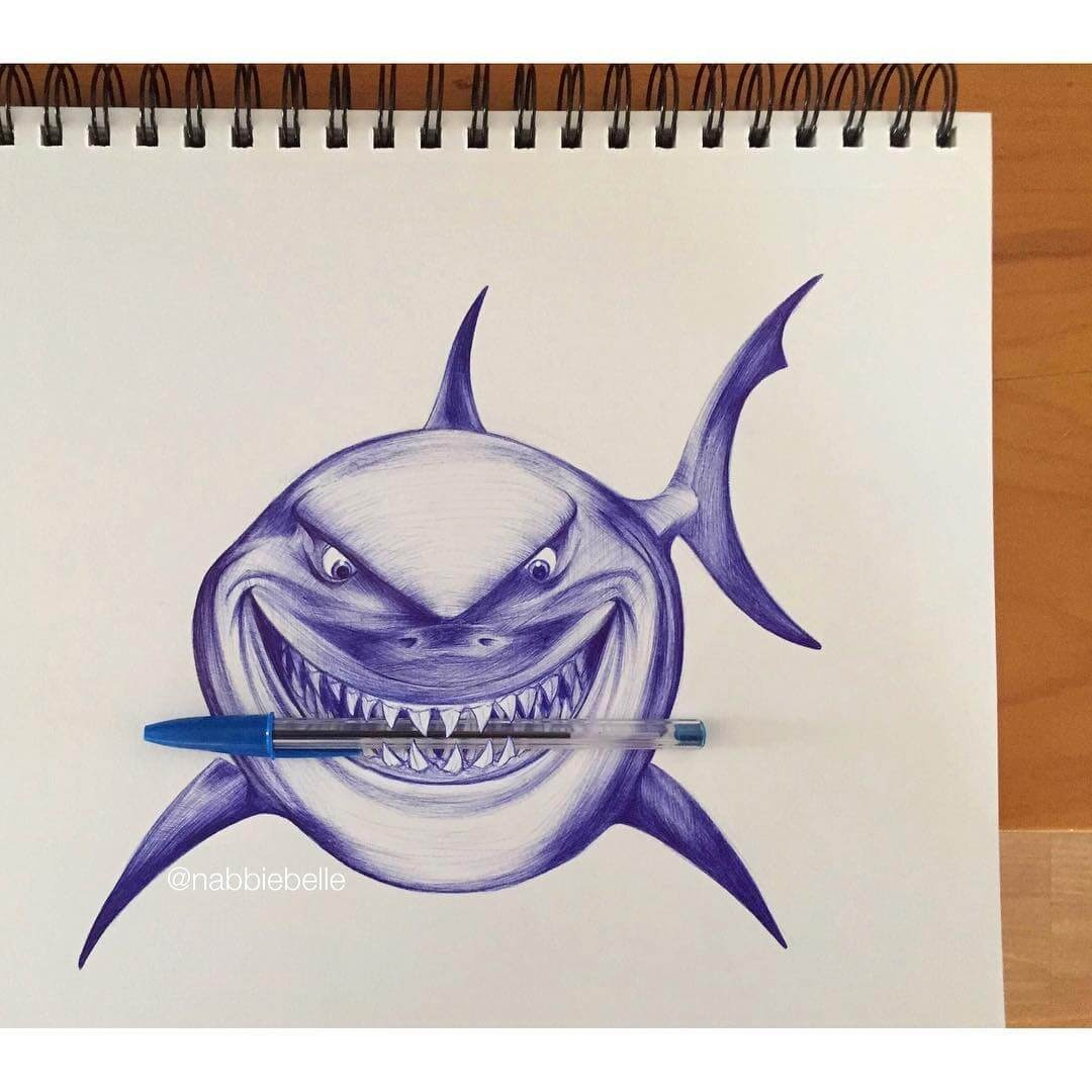 08-I-am-a-nice-shark-Annabelle-Marie-Inked-Animals-Drawn-in-Ballpoint-Pen-www-designstack-co
