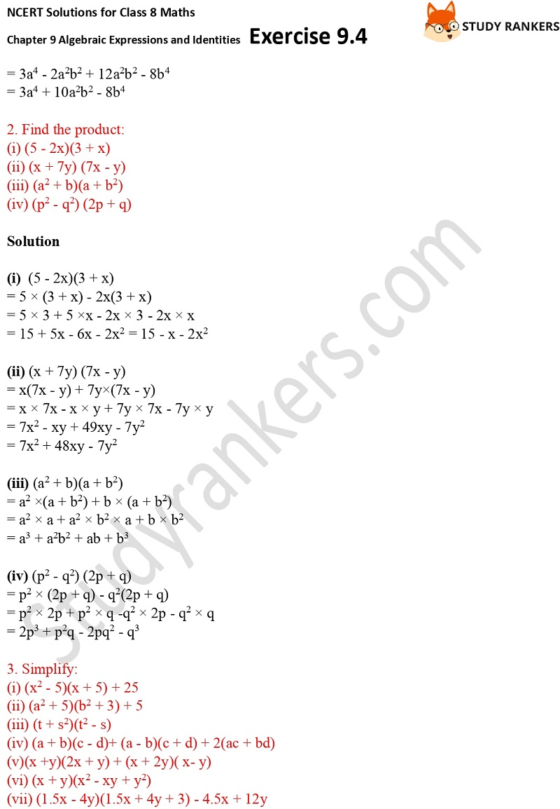 NCERT Solutions for Class 8 Maths Ch 9 Algebraic Expressions and Identities Exercise 9.4 2