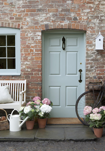 Front Door Painted In Little Greene Celestial Blue Over on Modern Country Style: How To Pick The Perfect Front Door Paint!