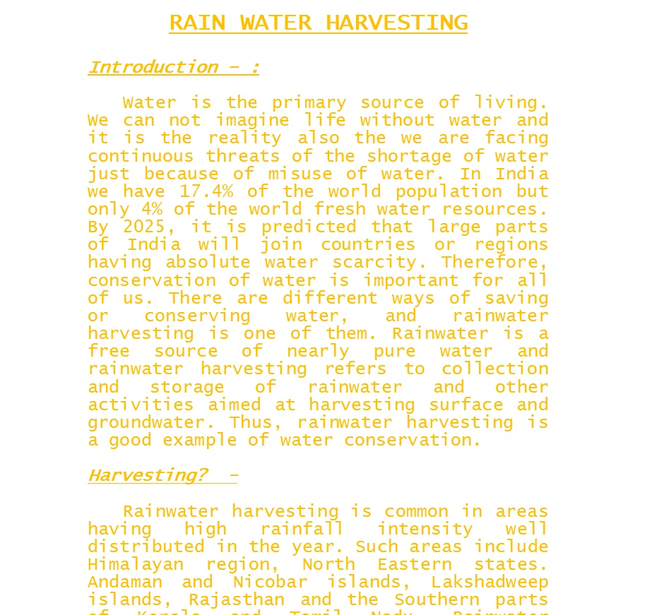 Rainwater Harvesting Essay for Students in English [ Words]