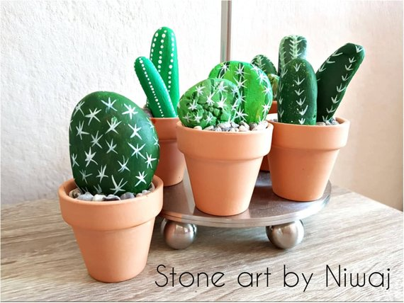 Cactus painted rock for sale on Etsy
