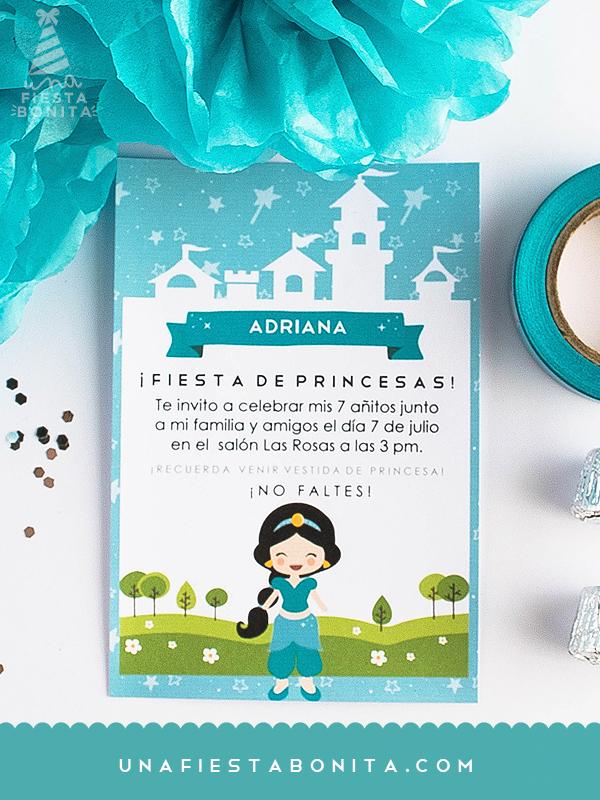 imprimible jazmin princesa cumpleaños invitacion