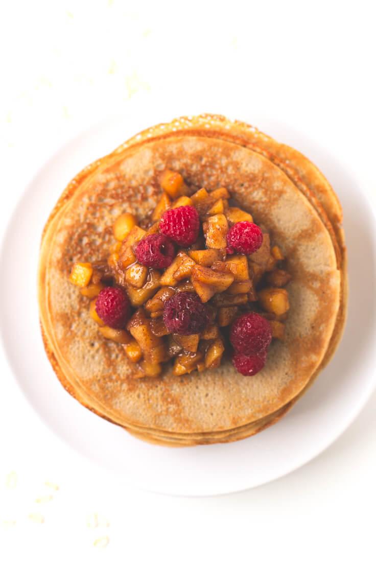 Vegan Oatmeal Crepes | danceofstoves.com #vegan