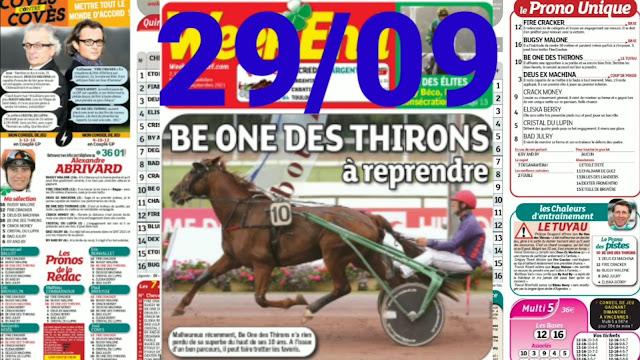 programme quinté+ Pronostic quinté Mercredi 29/09/2021