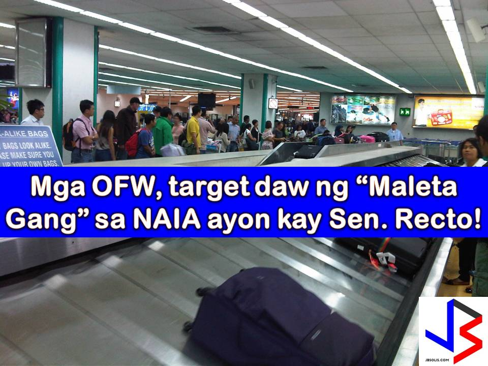 "Aside from ""Laglag Bala syndicate"" in Ninoy Aquino International Airport (NAIA) that victimizing Overseas Filipino Workers (OFW), tourist or even dignitaries another problem that is still persisting is the baggage theft.  After the latest incident where four baggage handlers in NAIA are arrested for allegedly stealing the jewelry of the wife of Turkish Foreign Minister Mevlut Cavusoglu, Senate President Pro-Tempore Ralph Recto believes that there is syndicate in NAIA involving its personnel in stealing from bags of passengers, especially OFWs."