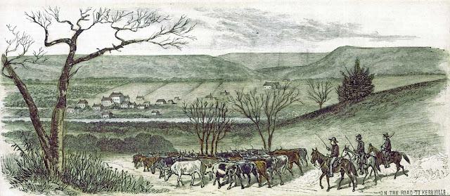 """On the road to Kerrville,"" from sketches by L. W. MacDonald  published May 28, 1881 in ""Frank Leslie's Illustrated Newspaper."""