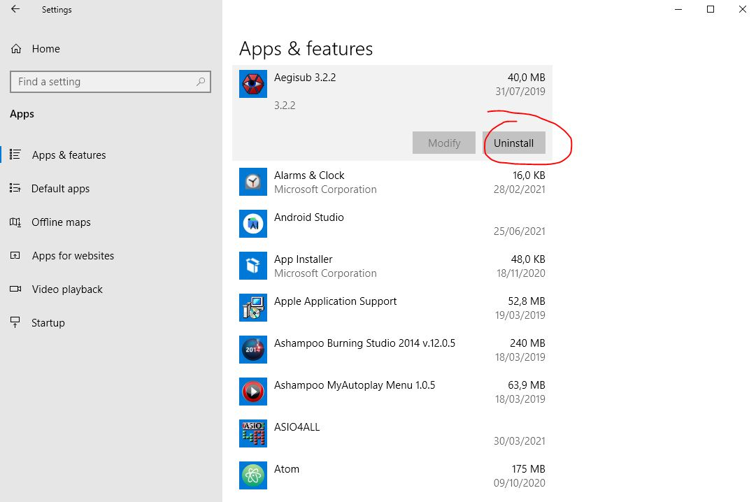 uninstal software di windows 10