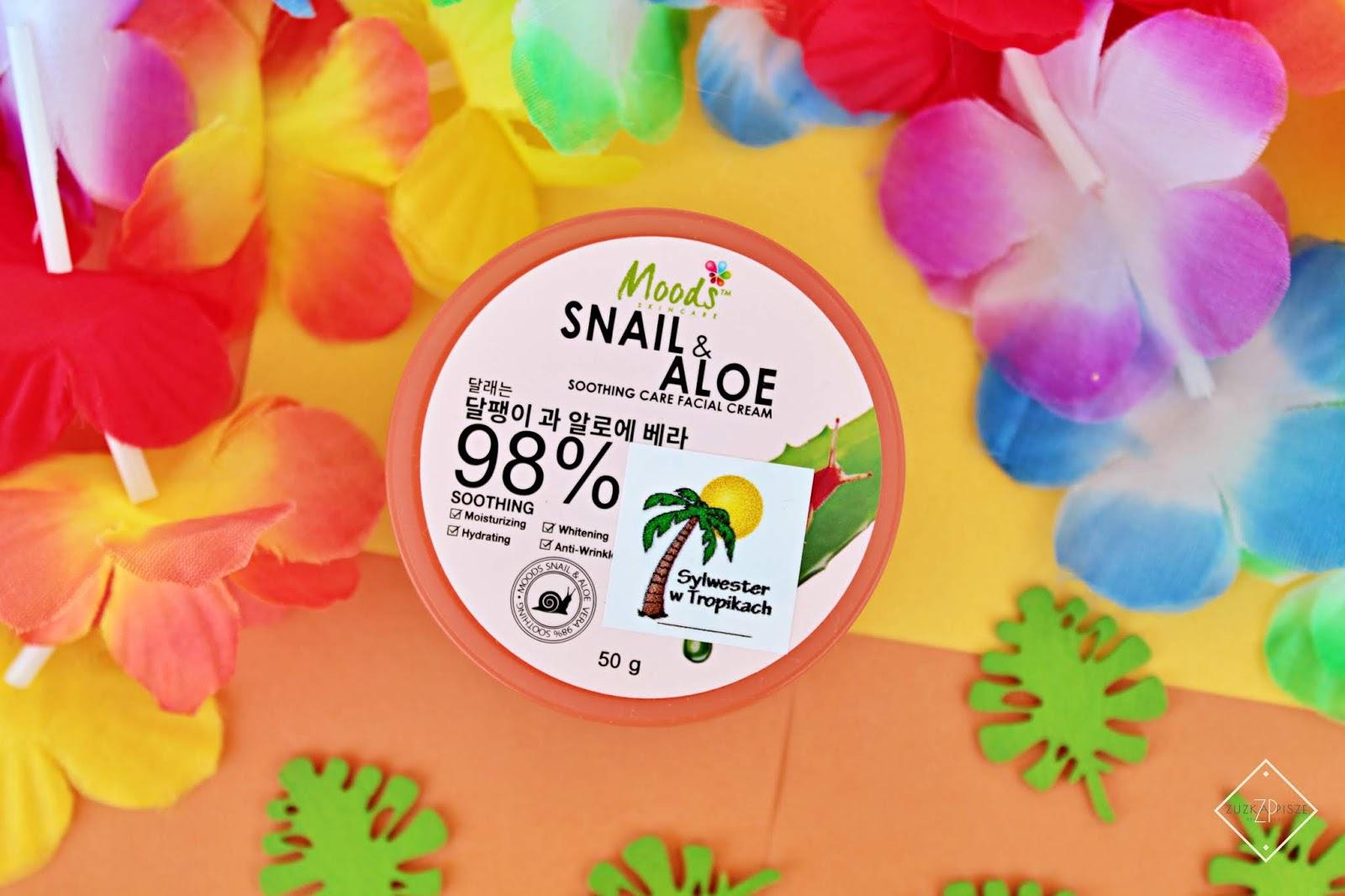 ŻEL MOODS SNAIL & ALOE 98% nawilżenie i wygładzenie ze śluzem ślimaka i aloesem na noc