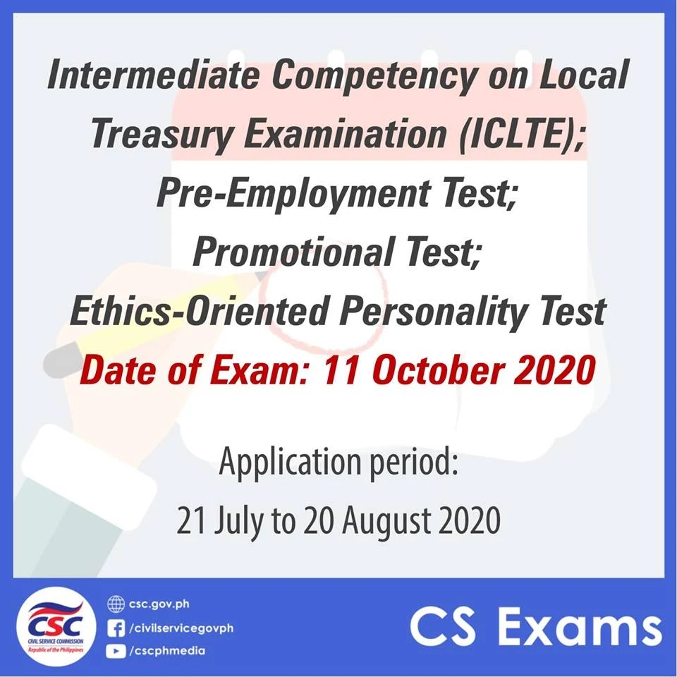 2020 Intermediate Competency on Local Treasury Examination (ICLTE), Pre-Employment Test, Promotional Test, and Ethics-Oriented Personality Test (EOPT)