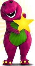 Dibujo de Barney con una estrella en la mano