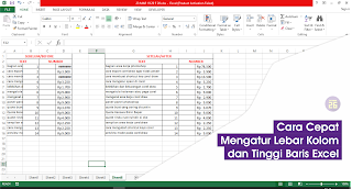 Mengatur Lebar Kolom dan Tinggi Baris Excel