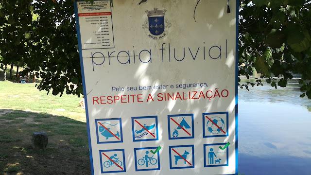 Placa sinalização Praia Fluvial Adaúfe