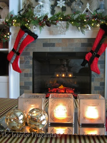 Fireplace decorated for the holidays