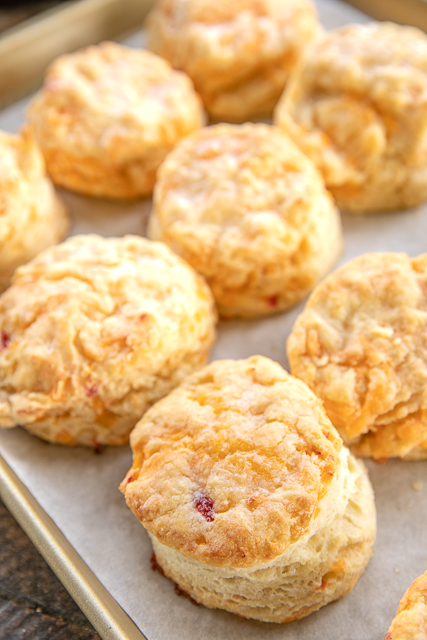 fresh baked biscuits on a baking pan