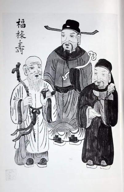 Tranh vẽ ba ông Phúc Lộc Thọ