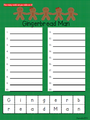 How many words can you make out of Gingerbread Man? Let students manipulate letters and create words!