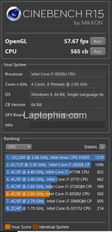 Benchmark Cinebench R15 CPU Multi-core Asus VivoBook S430UN