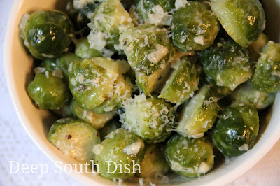 Brussels sprouts, steamed first, then sauteed in butter and cream, and finished with a bit of salt, pepper and Parmesan.