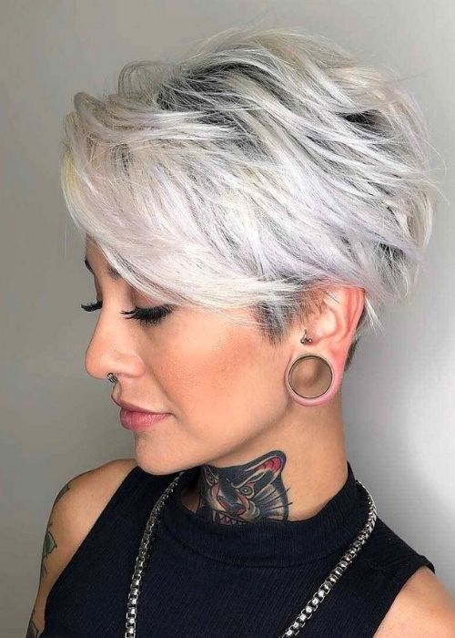 Flattering Hairstyles for Oval Face - Side-Swept Pixie Bob