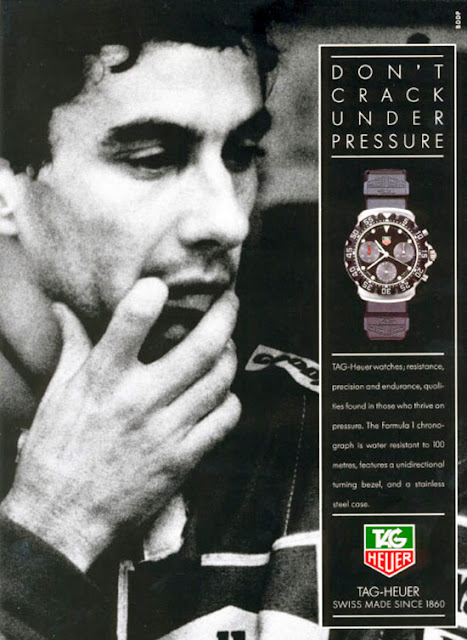 """Don't crack under pressure"" advertising campaign with Ayrton Senna as ambassador of the brand - 1991"