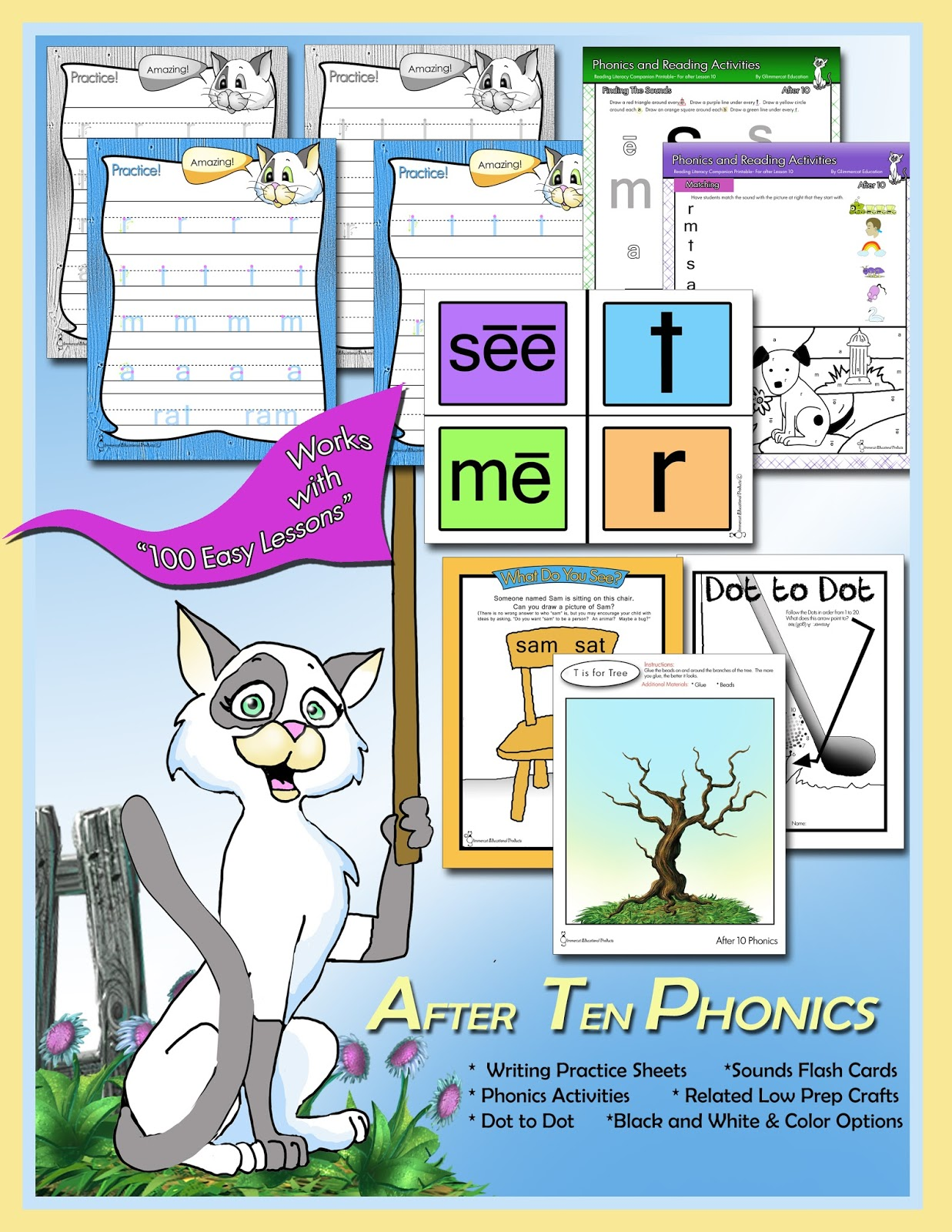 Glimmercat More Printables For Teach Your Child To Read