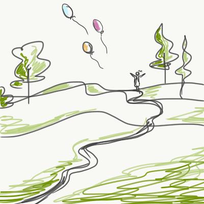 Stilisierte gezeichnete Landschaft mit einer Person auf dem Hügel, sie lässt Luftballons steigen. Zeichnung von Meike Kröger
