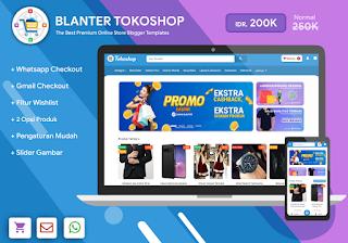 Blanter Tokoshop, Template Toko Online dengan Checkout Whatsapp dan Email