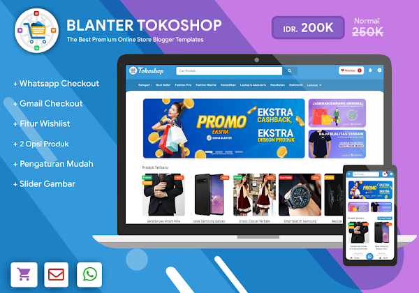Blanter Tokoshop, Online Shop Template with Whatsapp and Email Checkout