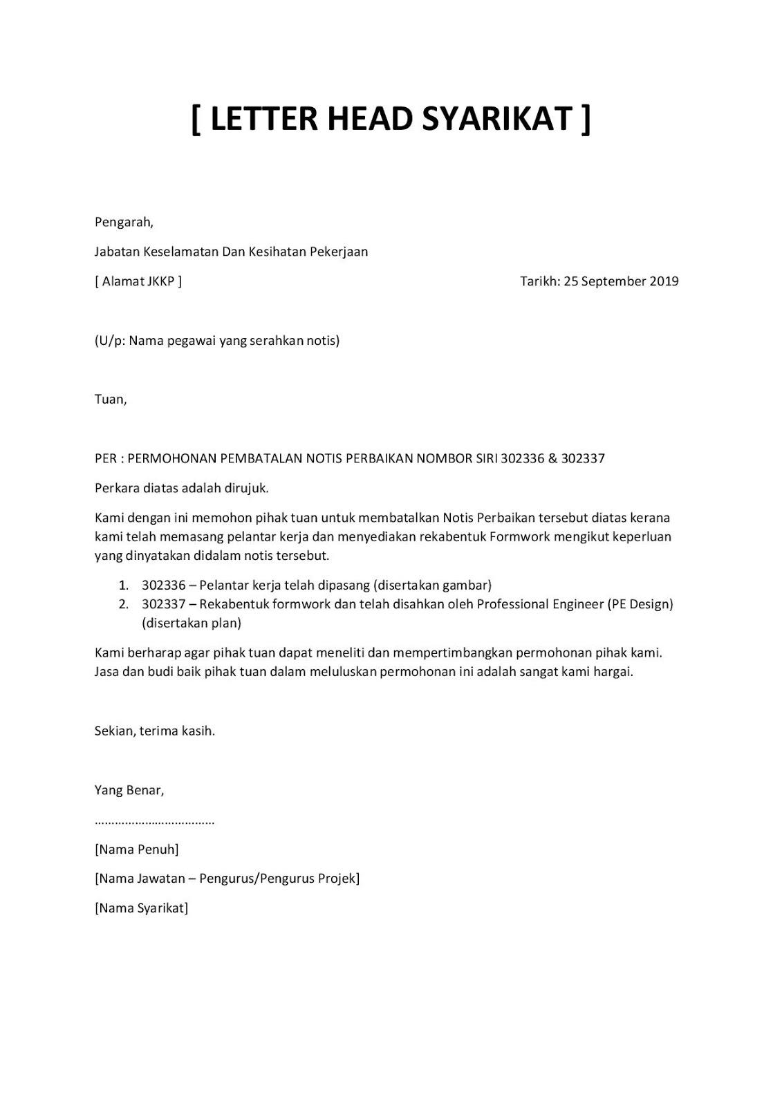 Contoh Surat Rasmi Permohonan Pembatalan Notis JKKP
