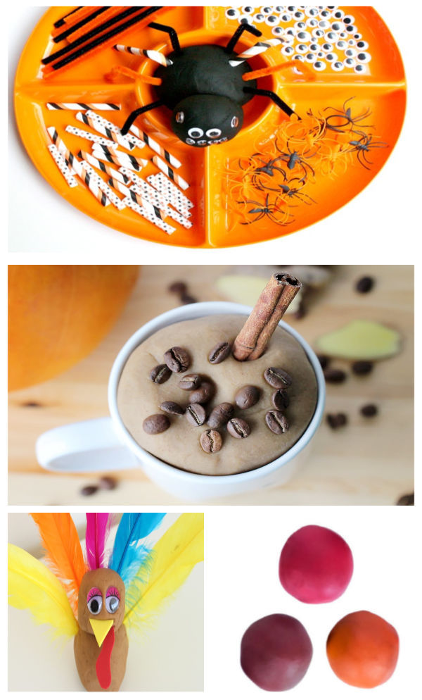 Fall play dough crafts, recipes, and activities for kids.  How to make a variety of no-cook clay including pumpkin & apple. #fallplaydough #fallplaydoughrecipes #fallcrafts #nocookplaydoughrecipes #nocookplaydough #nocookclayrecipe #playclay #pumpkinclay #appleplaydough #fallclayprojects #growingajeweledrose #activitiesforkids