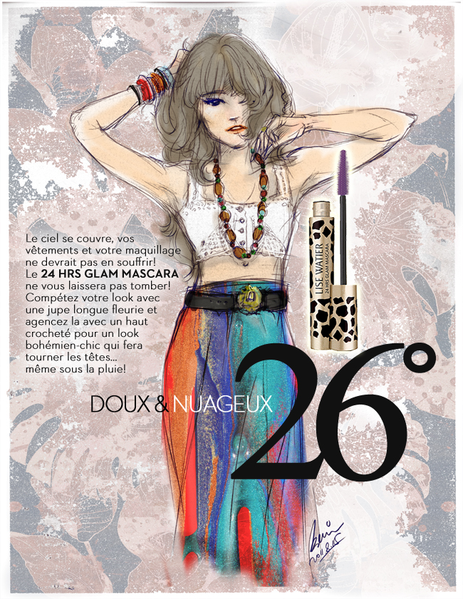 LiseWatier Glam mascara, Cosmetics products, fashion illustration, Bohemian style girl in colorful print long dress, drawing by Ben Liu