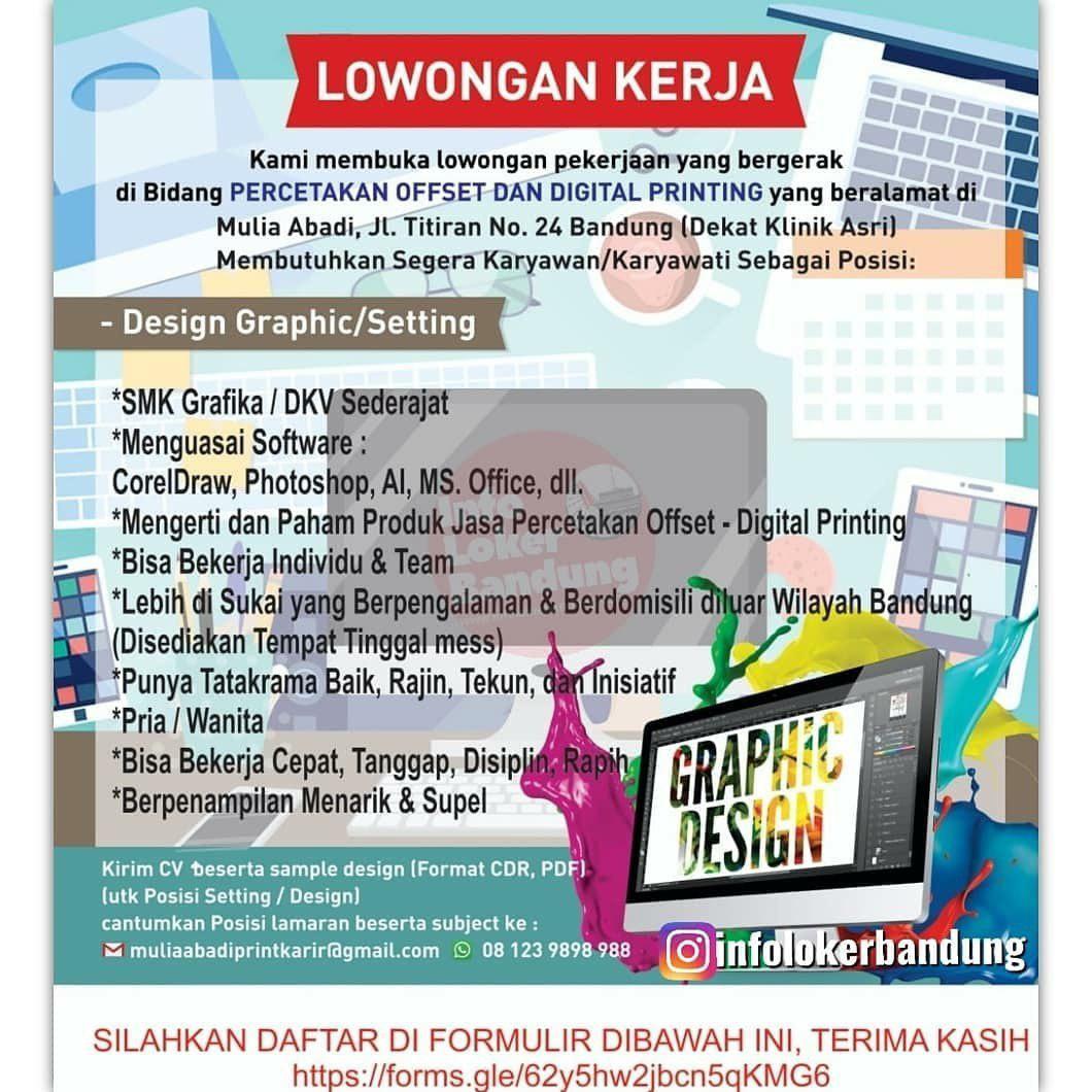 Lowongan Kerja Percetakan Offset & Digital Printing Mulia Abadi Bandung Agustus 2019